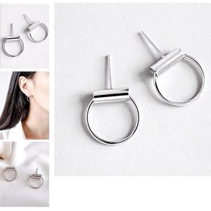 Silver Tube Studs with Dangling Circle Earrings
